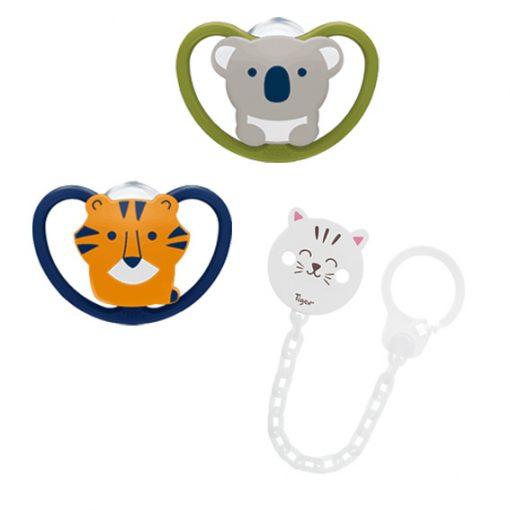 Sucettes Space Koala et Tigre et attache sucette Chat