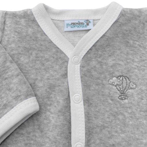 Pyjama Perle gris chiné velours détail 1