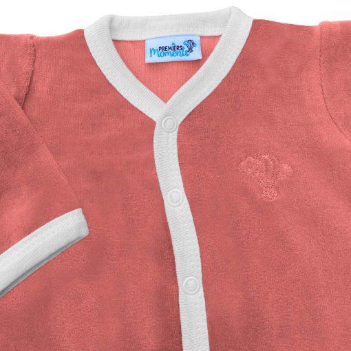 Pyjama framboise en velours détail 1